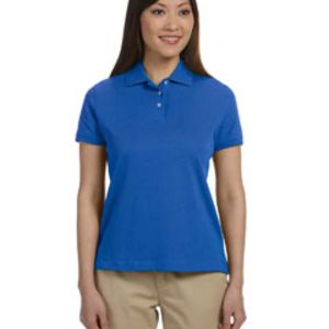 Ladies' Solid Perfect Pima Interlock Polo Thumbnail